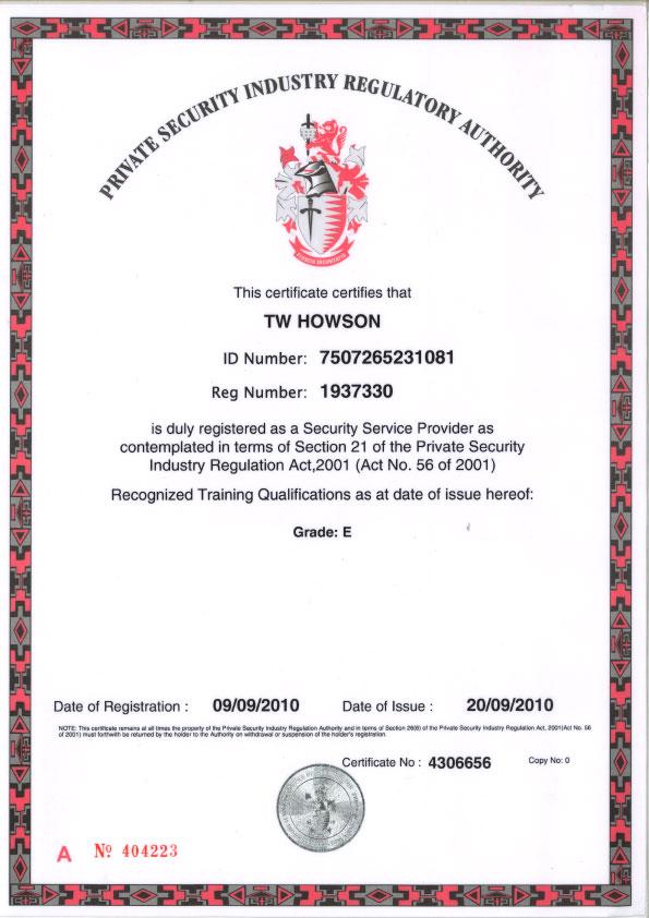 Certificates Intervid Johannesburg Durban Cape Town